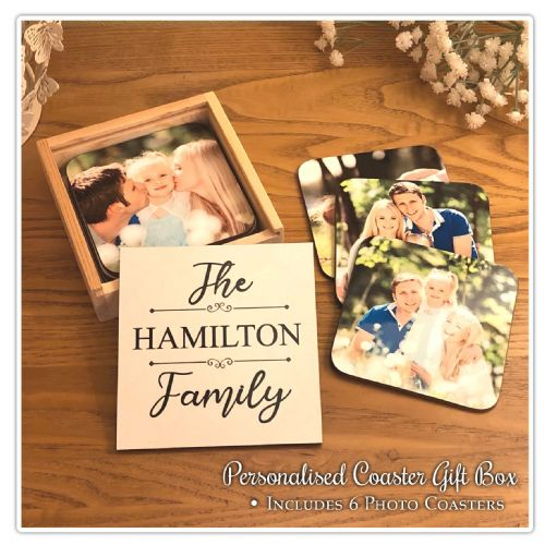 Personalised Family Coaster Gift Box with 6 Photo Coasters N3